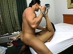 Attractive young Indian babe is tasting throbbing schlong with great delight