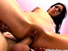 Hawt Indian babe Kharti gets skinny snatch and facehole bitchy in a 3some