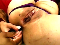 Skinny and busty Indian harlot gets fingered and blows before getting bitchy by two
